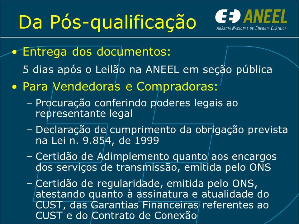 Da Pós-qualificação Entrega dos documentos:
