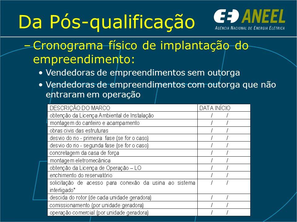 Da Pós-qualificação Cronograma físico de implantação do empreendimento: Vendedoras de empreendimentos sem outorga.