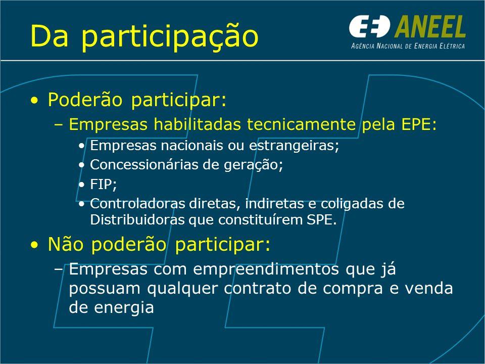 Da participação Poderão participar: Não poderão participar: