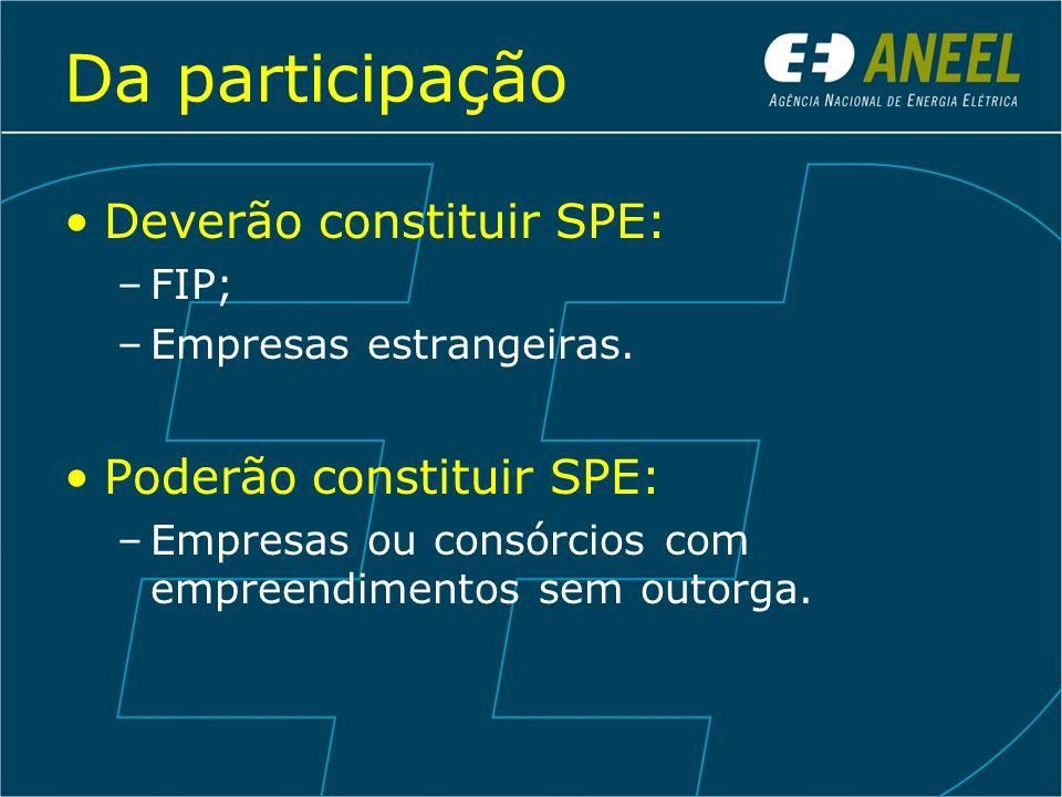 Da participação Deverão constituir SPE: Poderão constituir SPE: FIP;