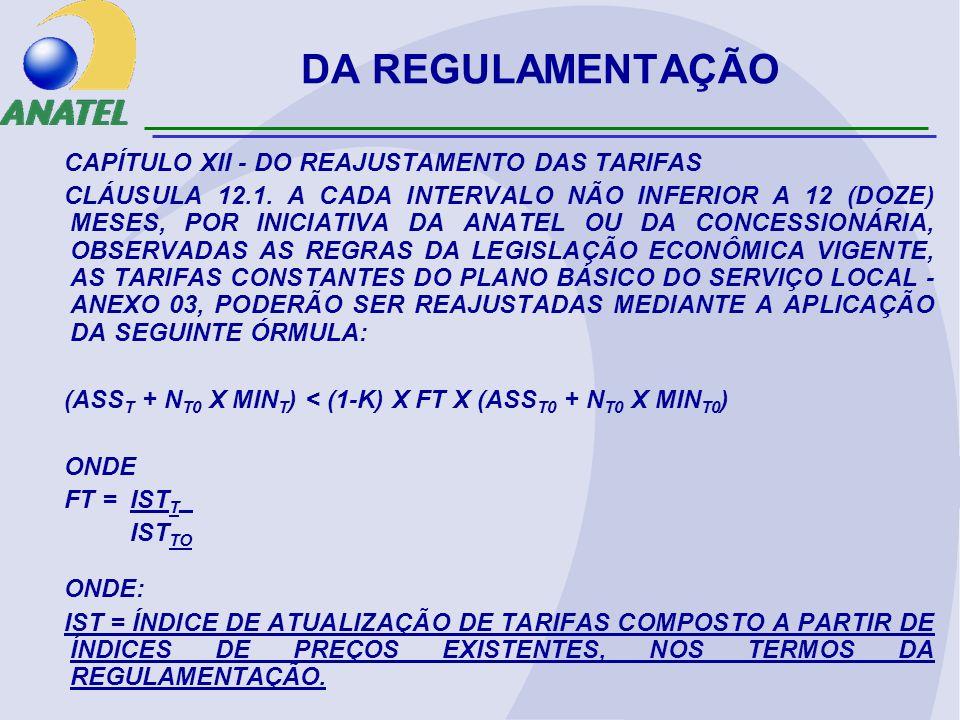 DA REGULAMENTAÇÃO CAPÍTULO XII - DO REAJUSTAMENTO DAS TARIFAS
