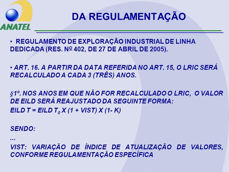 DA REGULAMENTAÇÃO REGULAMENTO DE EXPLORAÇÃO INDUSTRIAL DE LINHA DEDICADA (RES. NO 402, DE 27 DE ABRIL DE 2005).