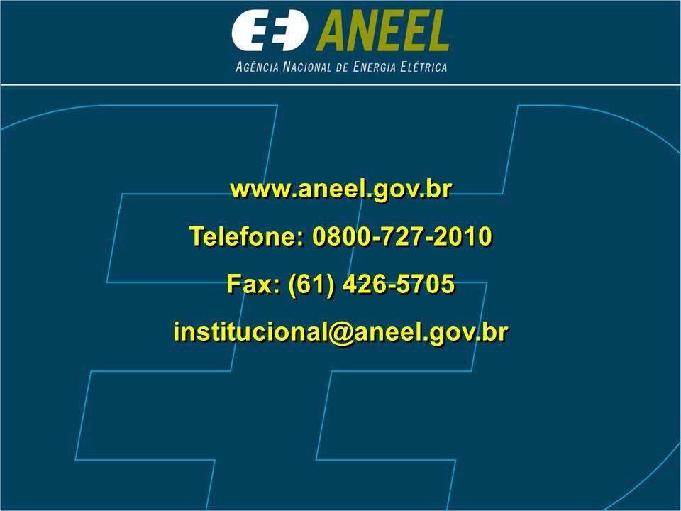 www.aneel.gov.br Telefone: 0800-727-2010 Fax: (61) 426-5705 institucional@aneel.gov.br