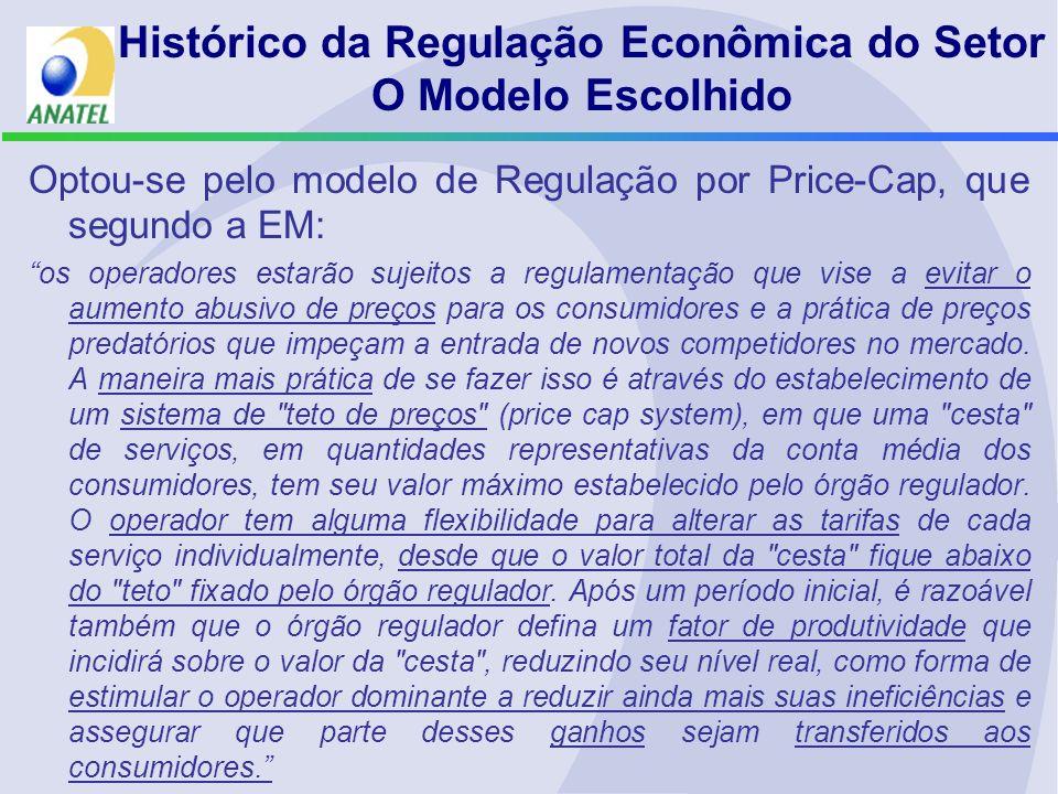 Histórico da Regulação Econômica do Setor O Modelo Escolhido