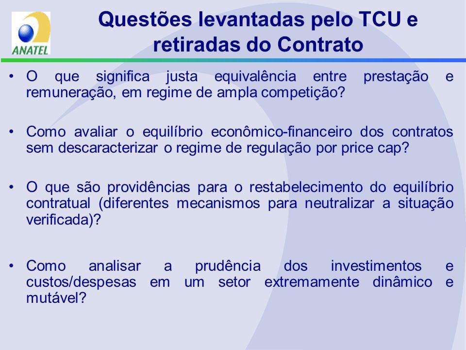Questões levantadas pelo TCU e retiradas do Contrato