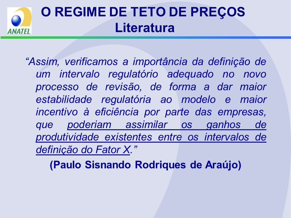 O REGIME DE TETO DE PREÇOS Literatura