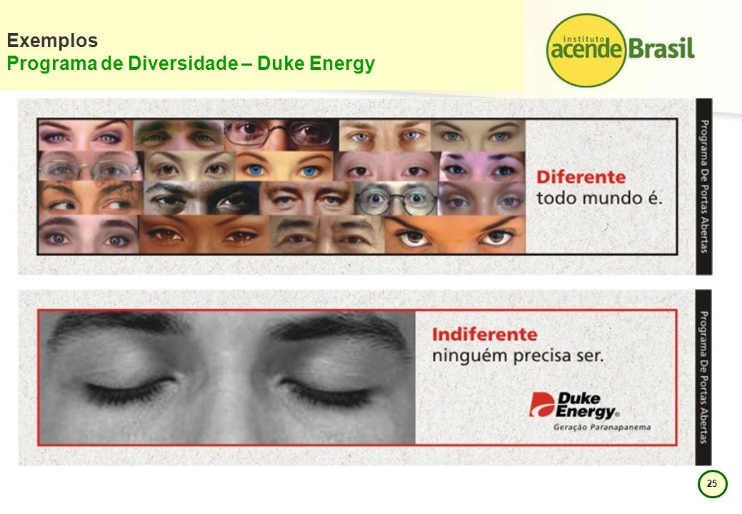 Exemplos Programa de Diversidade – Duke Energy