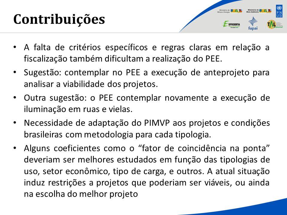 Contribuições A falta de critérios específicos e regras claras em relação a fiscalização também dificultam a realização do PEE.