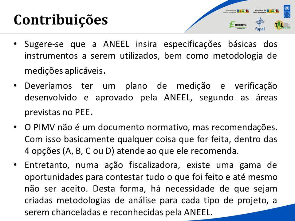 Contribuições Sugere-se que a ANEEL insira especificações básicas dos instrumentos a serem utilizados, bem como metodologia de medições aplicáveis.