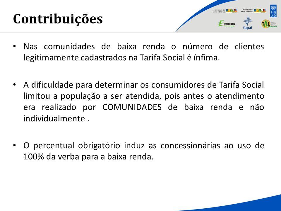 Contribuições Nas comunidades de baixa renda o número de clientes legitimamente cadastrados na Tarifa Social é ínfima.