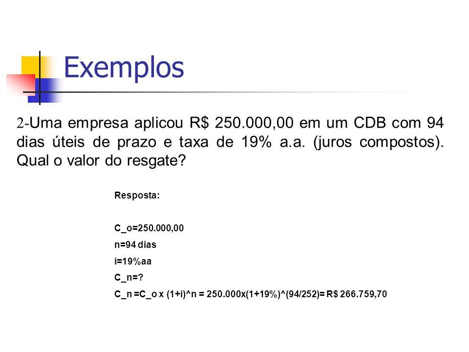 Exemplos 2-Uma empresa aplicou R$ 250.000,00 em um CDB com 94 dias úteis de prazo e taxa de 19% a.a. (juros compostos). Qual o valor do resgate