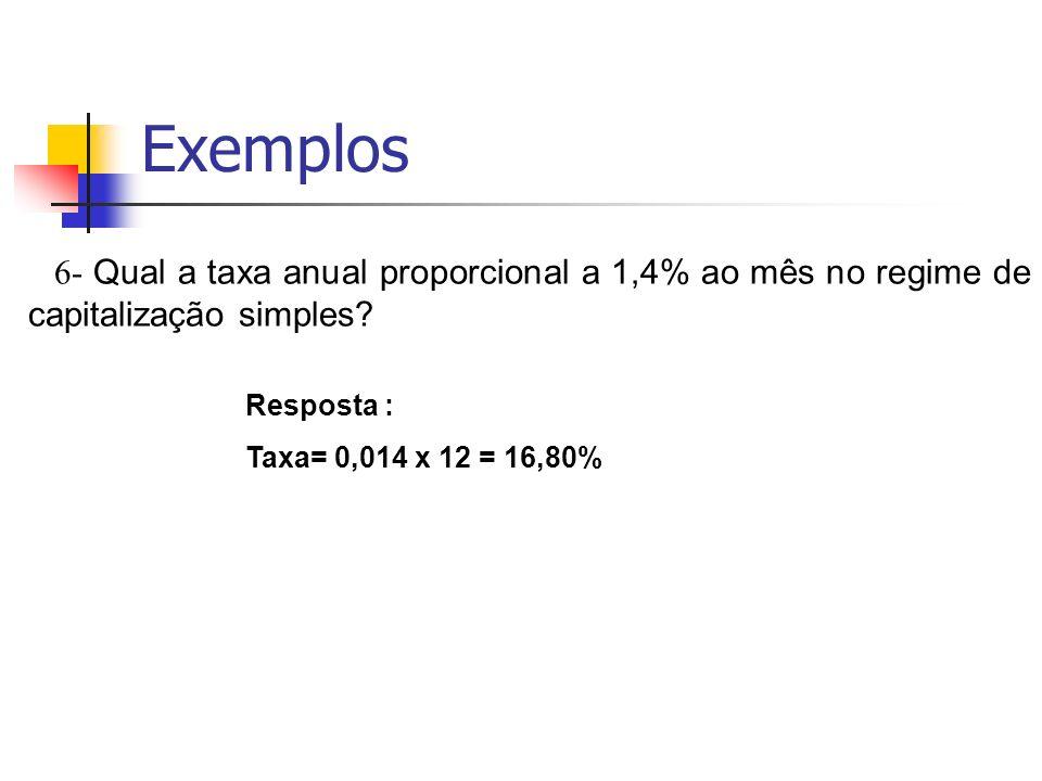 Exemplos 6- Qual a taxa anual proporcional a 1,4% ao mês no regime de capitalização simples Resposta :