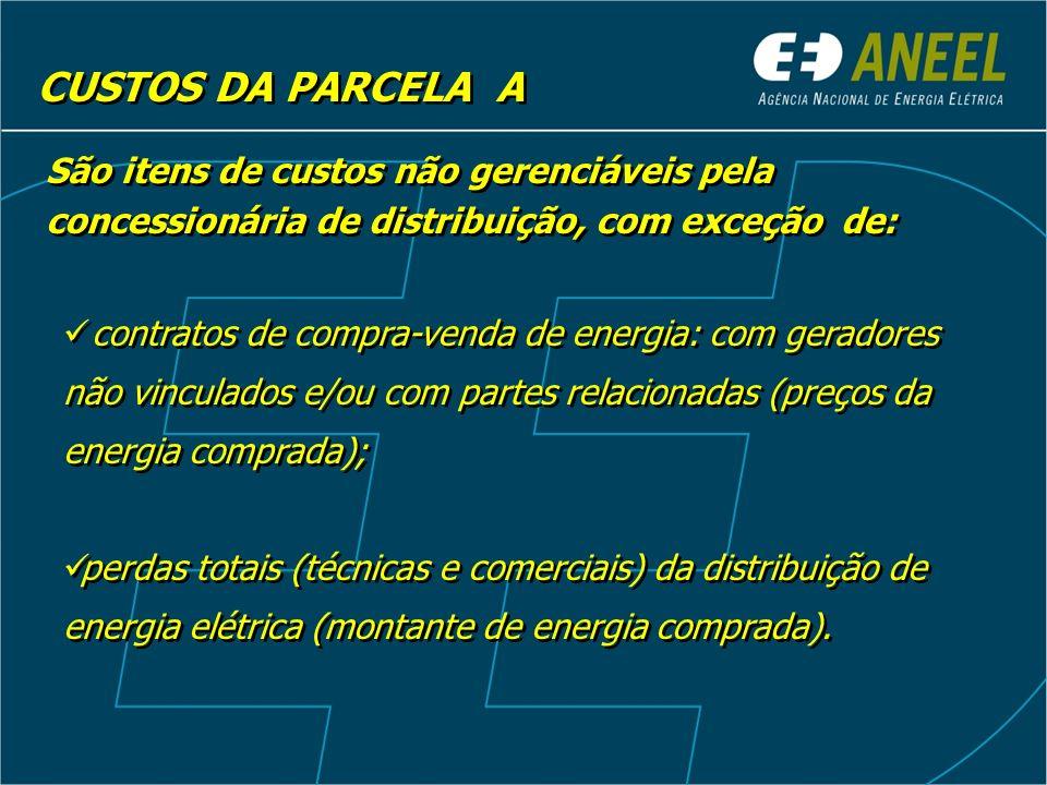 CUSTOS DA PARCELA A São itens de custos não gerenciáveis pela concessionária de distribuição, com exceção de: