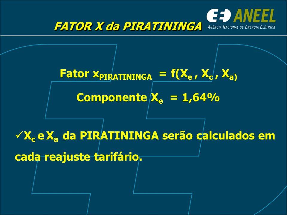 Fator xPIRATININGA = f(Xe , Xc , Xa)