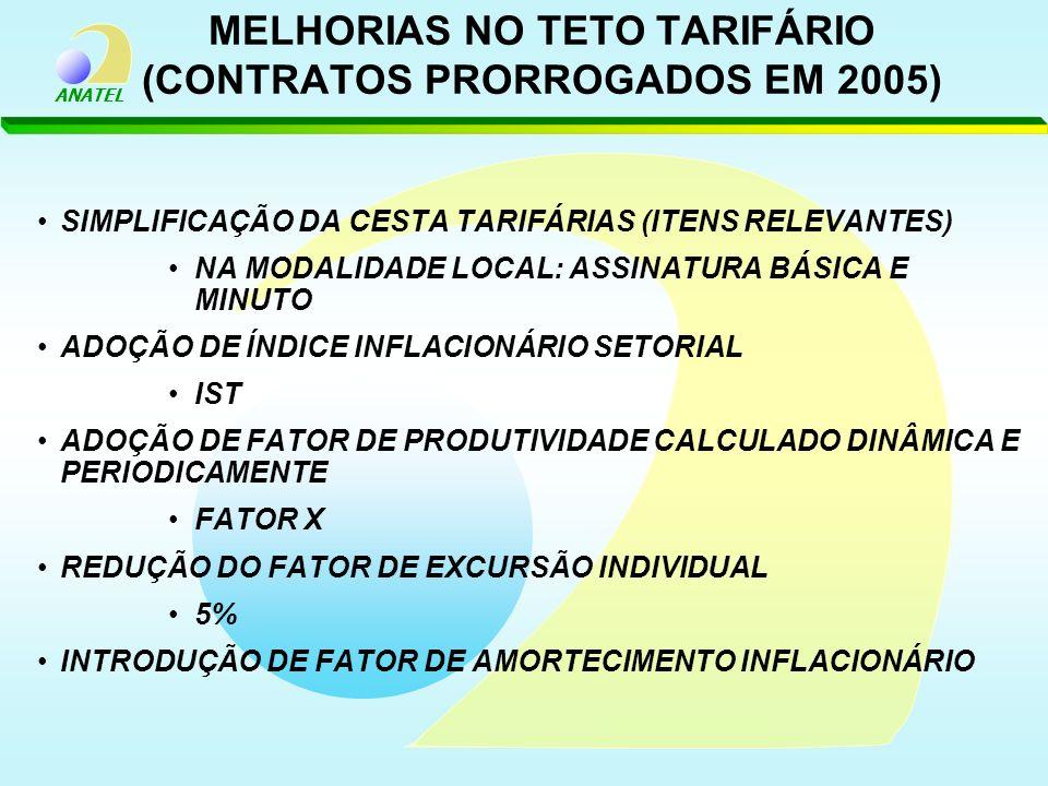 MELHORIAS NO TETO TARIFÁRIO (CONTRATOS PRORROGADOS EM 2005)