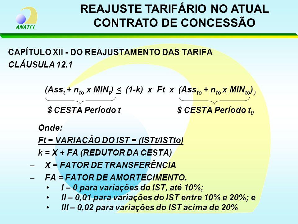 REAJUSTE TARIFÁRIO NO ATUAL CONTRATO DE CONCESSÃO