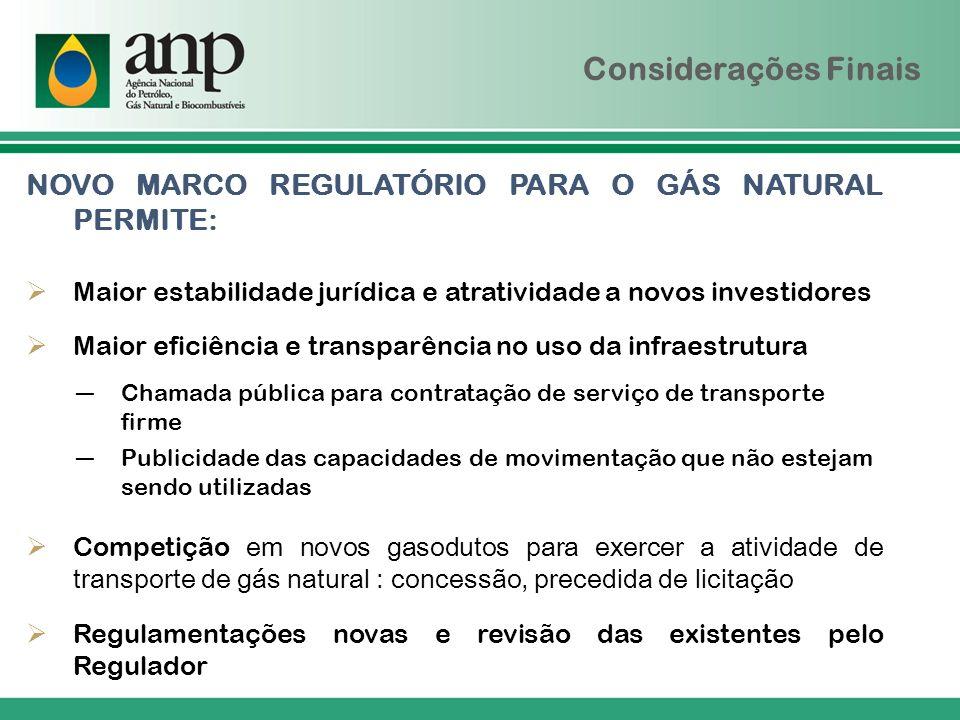 Considerações Finais NOVO MARCO REGULATÓRIO PARA O GÁS NATURAL PERMITE: Maior estabilidade jurídica e atratividade a novos investidores.