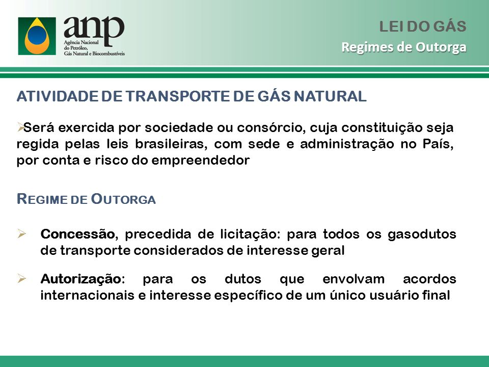 ATIVIDADE DE TRANSPORTE DE GÁS NATURAL