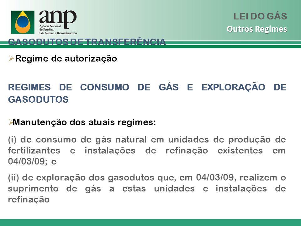 GASODUTOS DE TRANSFERÊNCIA Regime de autorização