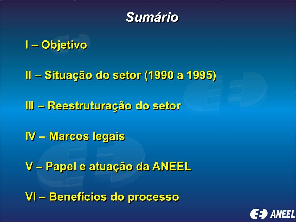 Sumário I – Objetivo II – Situação do setor (1990 a 1995)