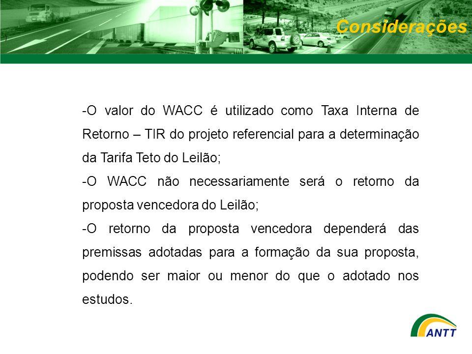 Considerações ) O valor do WACC é utilizado como Taxa Interna de Retorno – TIR do projeto referencial para a determinação da Tarifa Teto do Leilão;