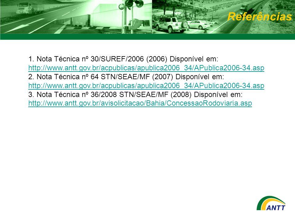 Referências 1. Nota Técnica nº 30/SUREF/2006 (2006) Disponível em: http://www.antt.gov.br/acpublicas/apublica2006_34/APublica2006-34.asp.
