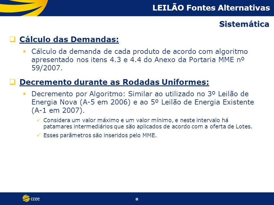 LEILÃO Fontes Alternativas