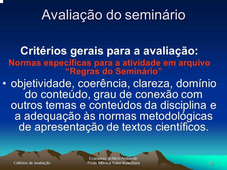 Avaliação do seminário