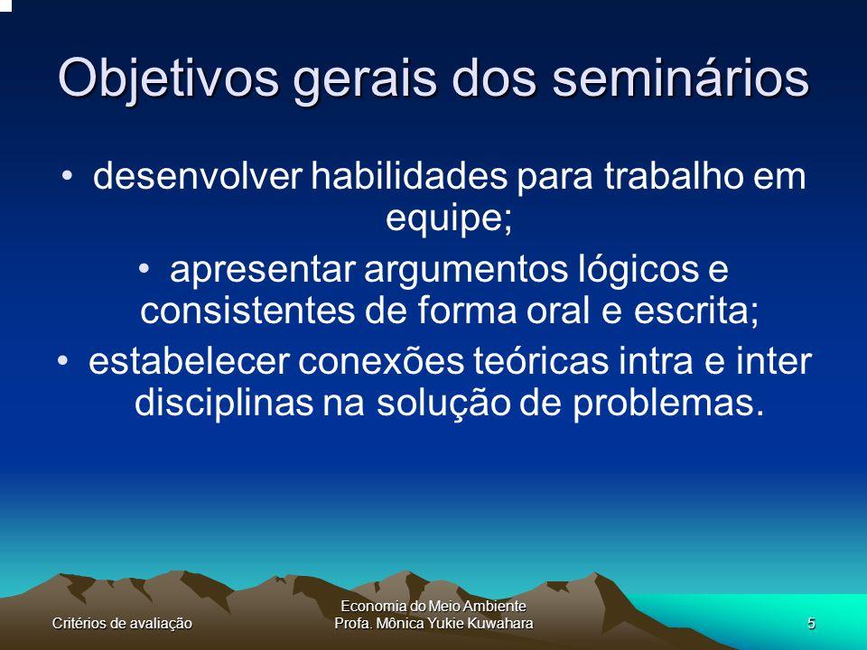 Objetivos gerais dos seminários