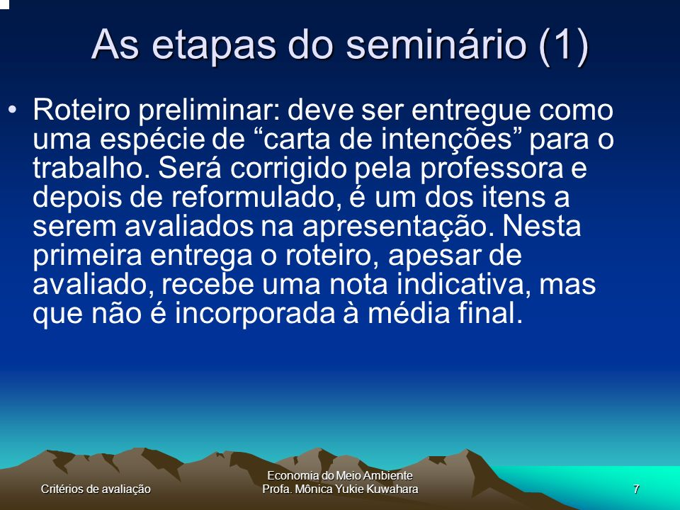 As etapas do seminário (1)