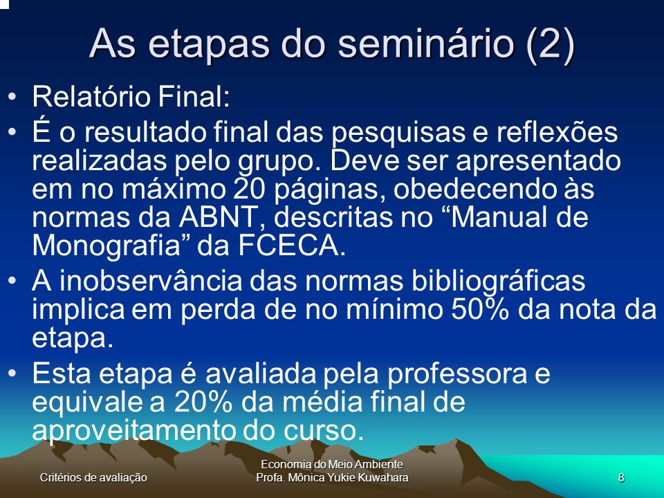 As etapas do seminário (2)