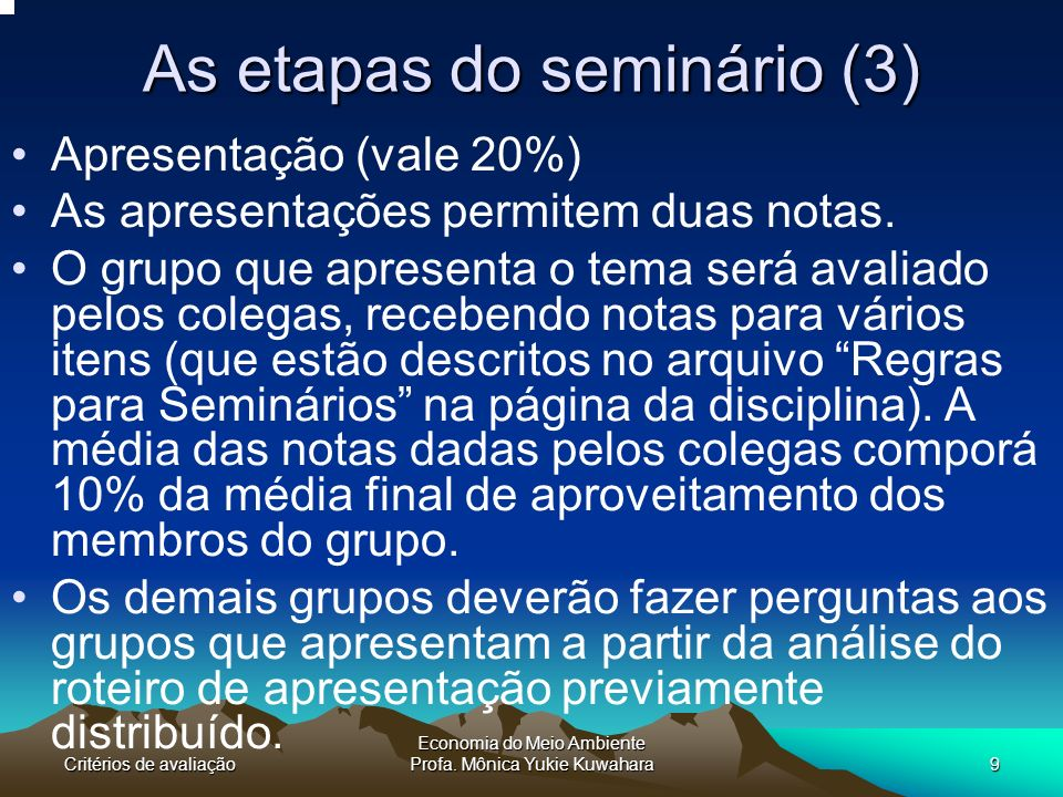 As etapas do seminário (3)