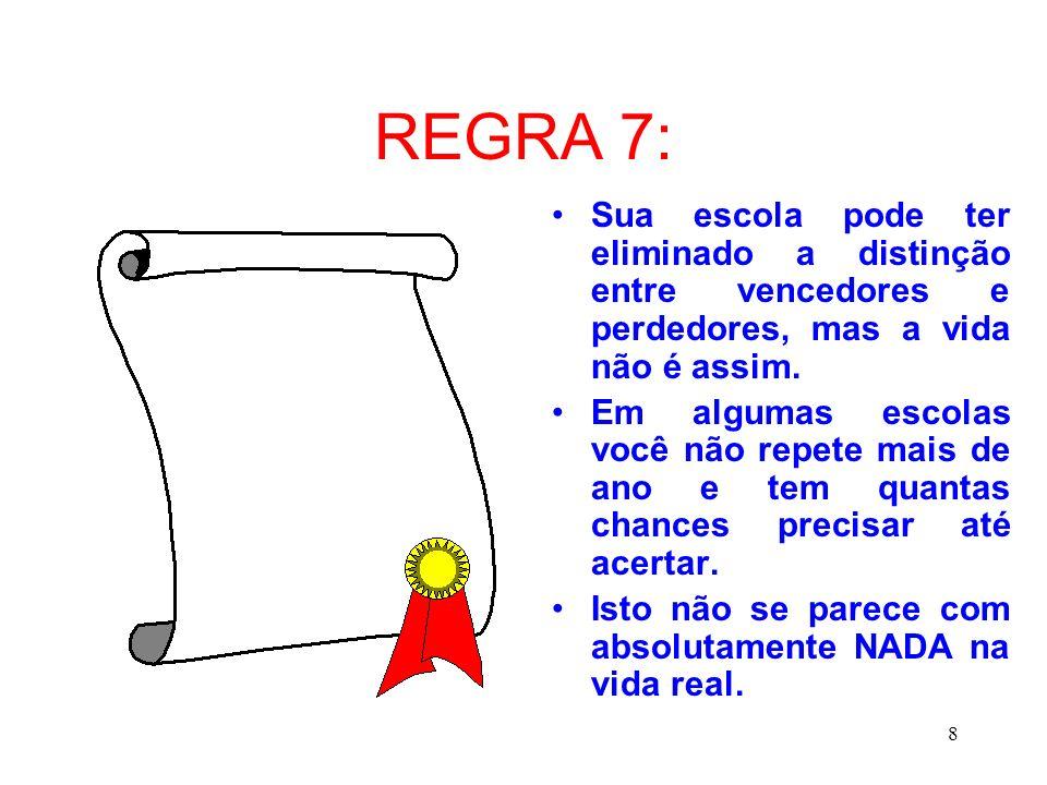 REGRA 7: Sua escola pode ter eliminado a distinção entre vencedores e perdedores, mas a vida não é assim.
