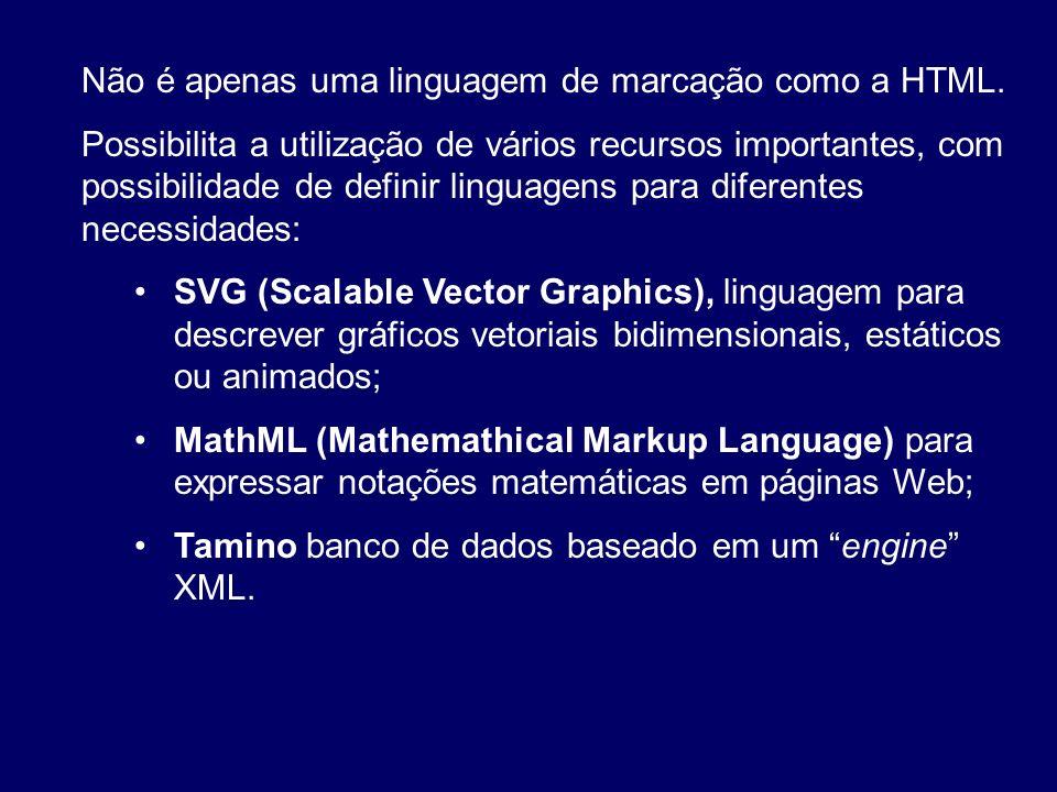 Não é apenas uma linguagem de marcação como a HTML.