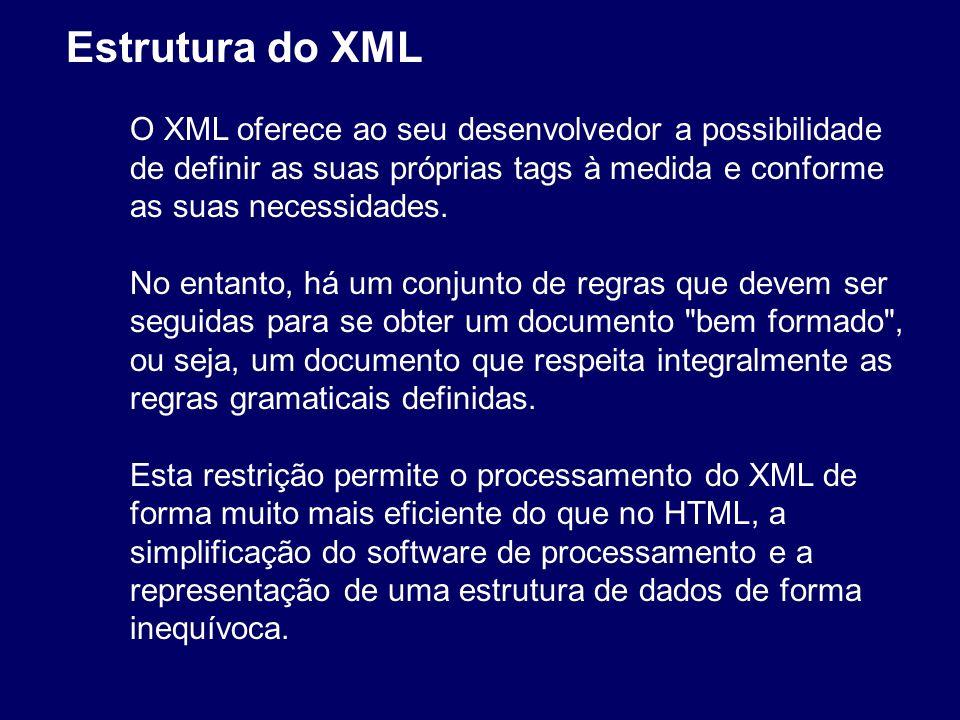 Estrutura do XML O XML oferece ao seu desenvolvedor a possibilidade de definir as suas próprias tags à medida e conforme as suas necessidades.