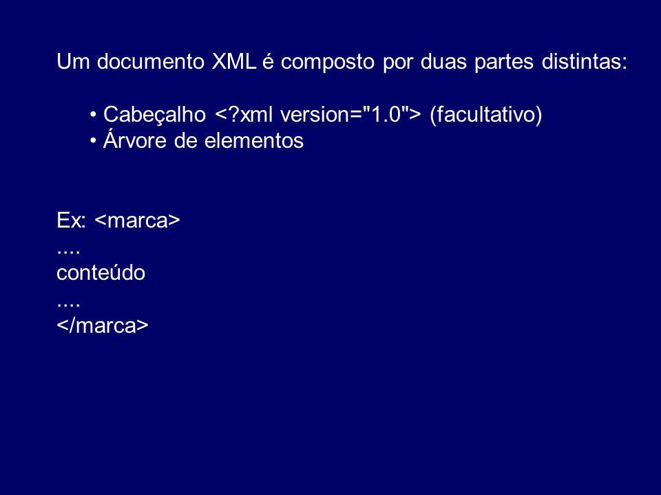 Um documento XML é composto por duas partes distintas: