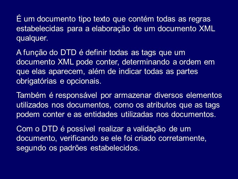 É um documento tipo texto que contém todas as regras estabelecidas para a elaboração de um documento XML qualquer.