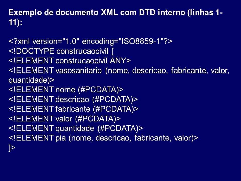 Exemplo de documento XML com DTD interno (linhas 1-11):