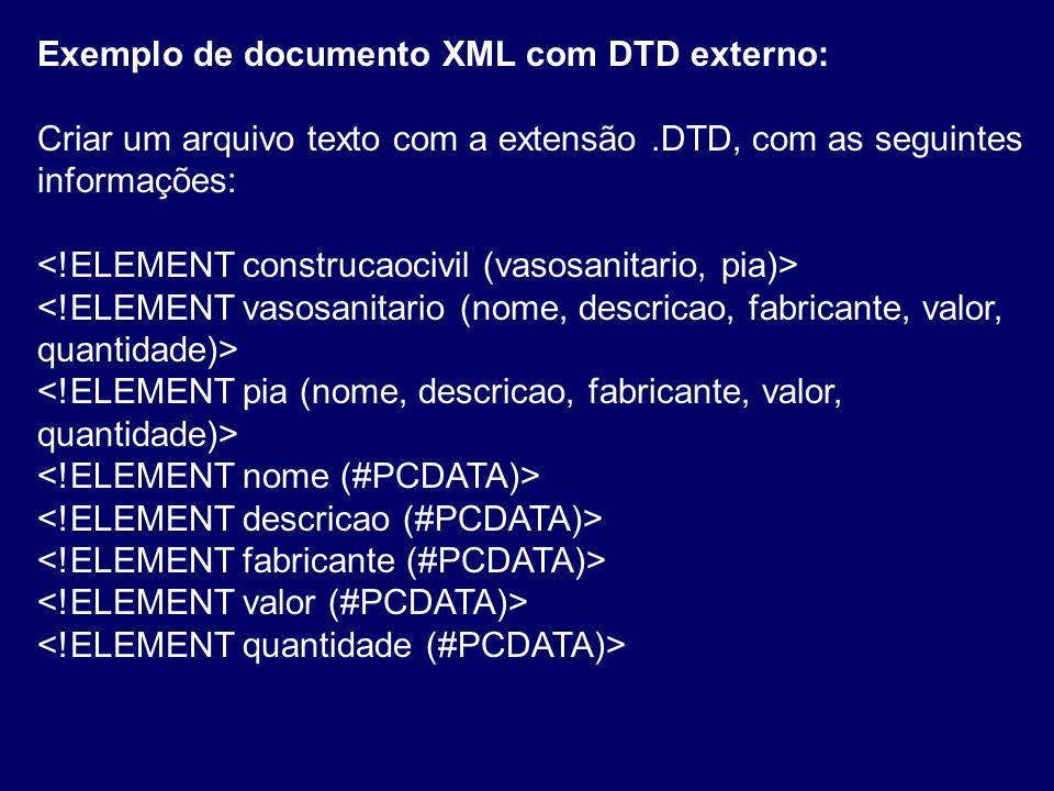 Exemplo de documento XML com DTD externo: