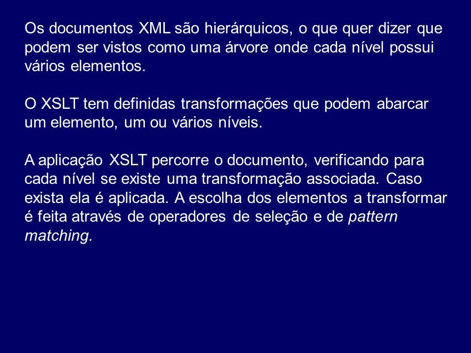 Os documentos XML são hierárquicos, o que quer dizer que podem ser vistos como uma árvore onde cada nível possui vários elementos.