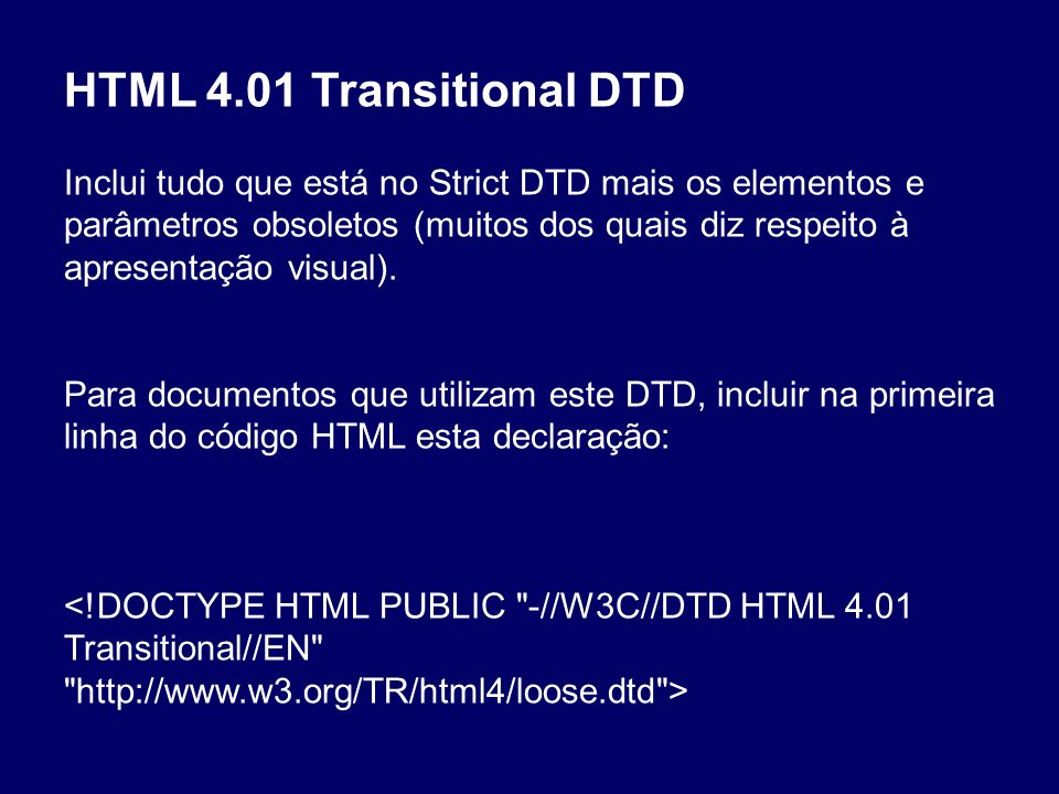 HTML 4.01 Transitional DTD