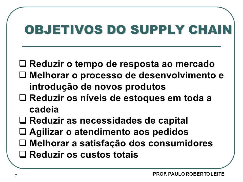 OBJETIVOS DO SUPPLY CHAIN