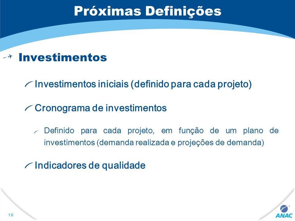 Próximas Definições Investimentos
