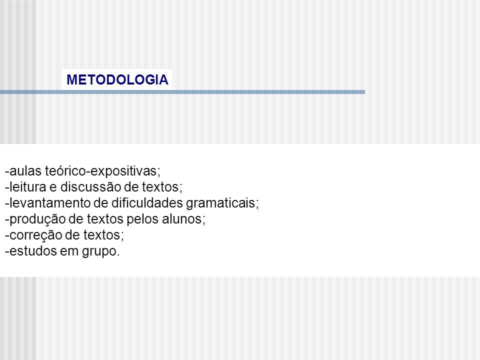 METODOLOGIA -aulas teórico-expositivas; -leitura e discussão de textos; -levantamento de dificuldades gramaticais;