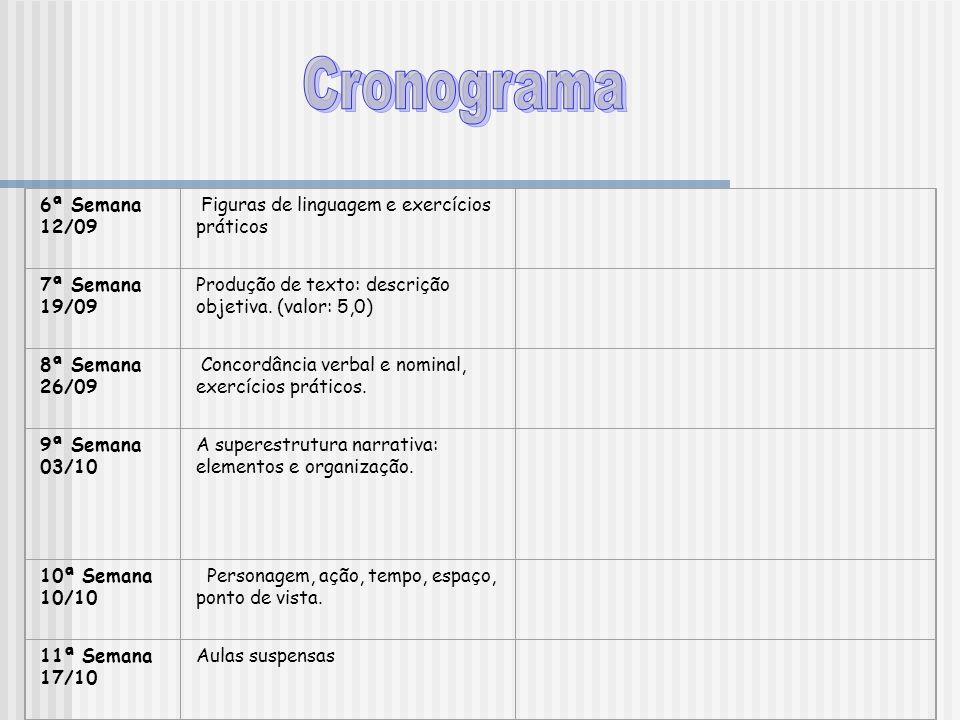 Cronograma 6ª Semana 12/09 Figuras de linguagem e exercícios práticos