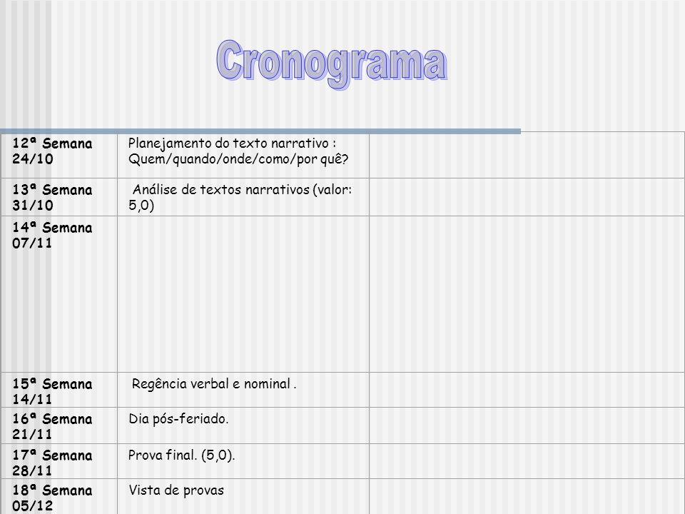 Cronograma 12ª Semana. 24/10. Planejamento do texto narrativo : Quem/quando/onde/como/por quê