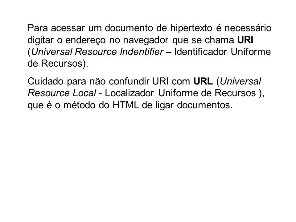 Para acessar um documento de hipertexto é necessário digitar o endereço no navegador que se chama URI (Universal Resource Indentifier – Identificador Uniforme de Recursos).
