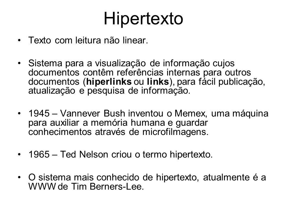 Hipertexto Texto com leitura não linear.