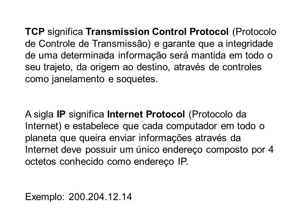 TCP significa Transmission Control Protocol (Protocolo de Controle de Transmissão) e garante que a integridade de uma determinada informação será mantida em todo o seu trajeto, da origem ao destino, através de controles como janelamento e soquetes.