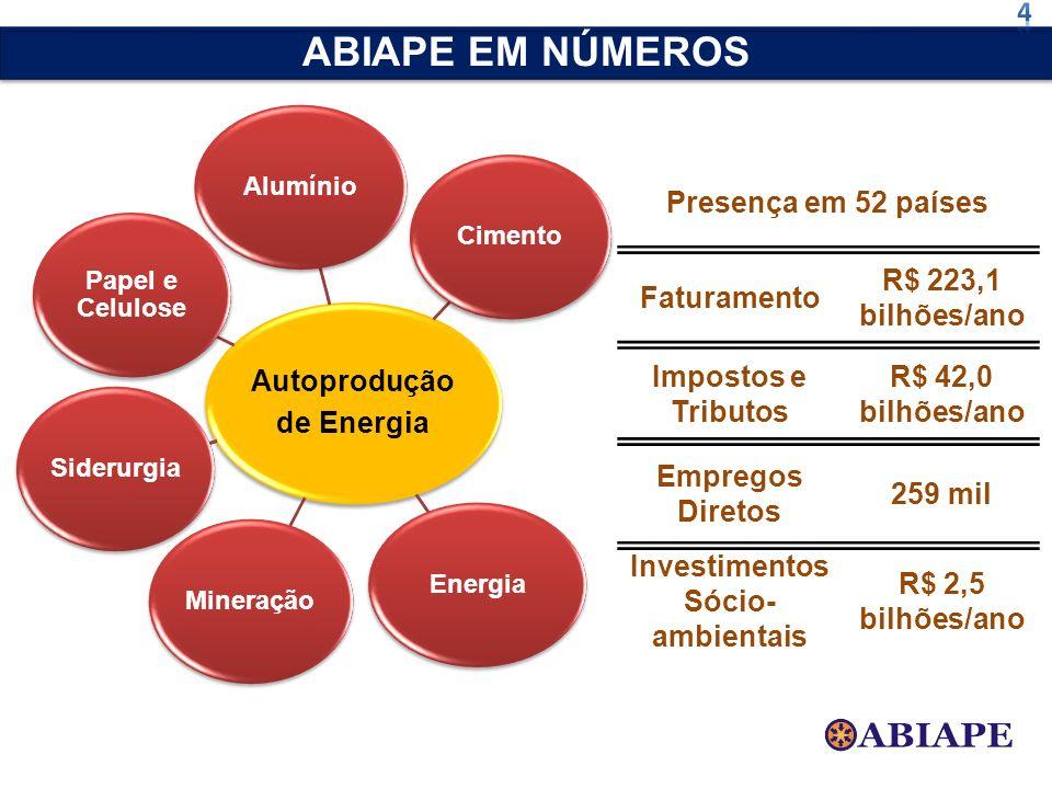 ABIAPE EM NÚMEROS 4 Autoprodução de Energia Presença em 52 países